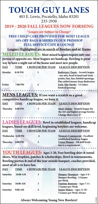 2019-2020 Fall Leagues Now Forming