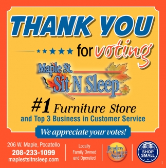 Thank You for Voting Maple St. Sit N Sleep #1 Furniture Store
