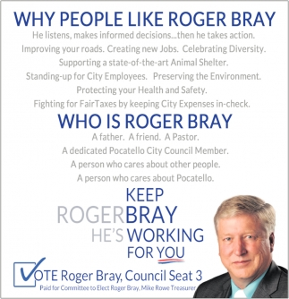 Vote Roger Bray, Council Seat 3