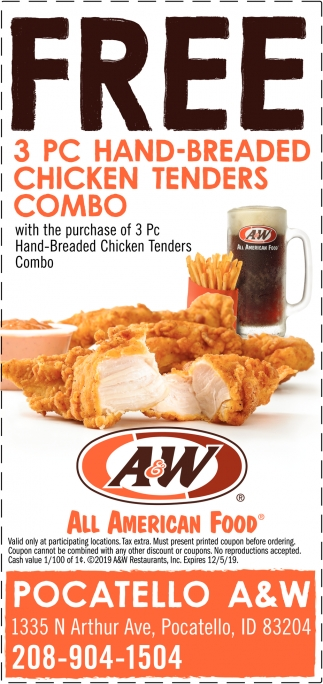 FREE 3 PC Hand-Breaded Chicken Tenders