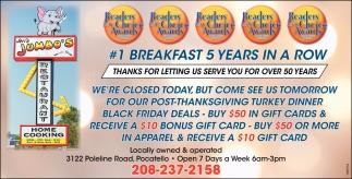 #1 Breakfast 5 Years In a Row