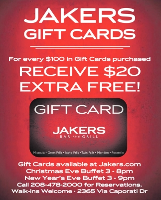 Jakers Gift Cards
