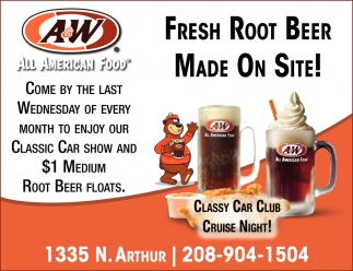 Fresh Root Beer Made on Site